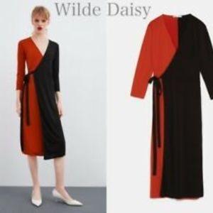 Zara Wrap Dress Red Black S